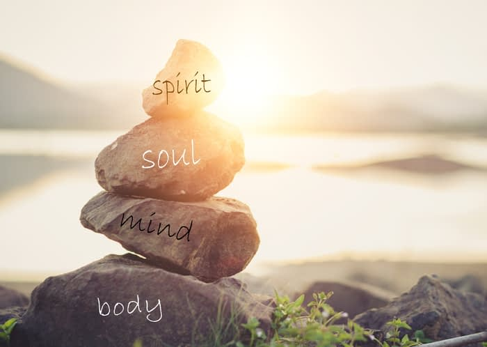 holisitc health concept of zen stones. concept body, mind, soul, spirit