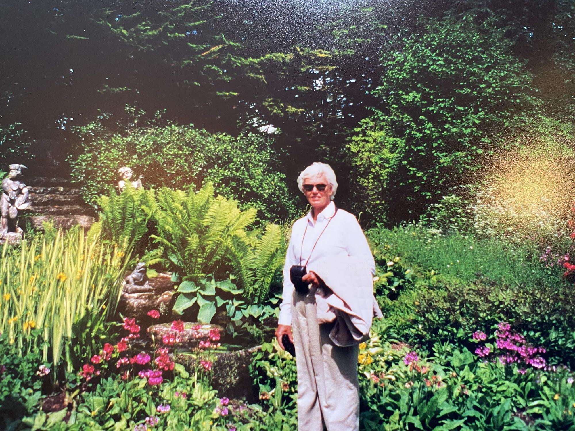 Mom in a lush garden